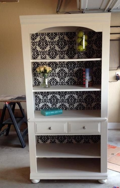 This Is The Broyhill Bookcase After I Painted It With Chalk Paint Reused Knobs And Used Outdoor Upholstery For Back Of