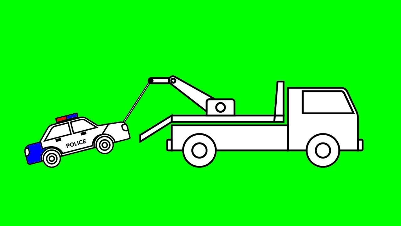 Learn colors for kids with tow truck and police car coloring pages ...