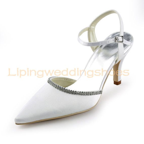 Simple Ivory Satin Slingback Wedding Shoes With Beadings