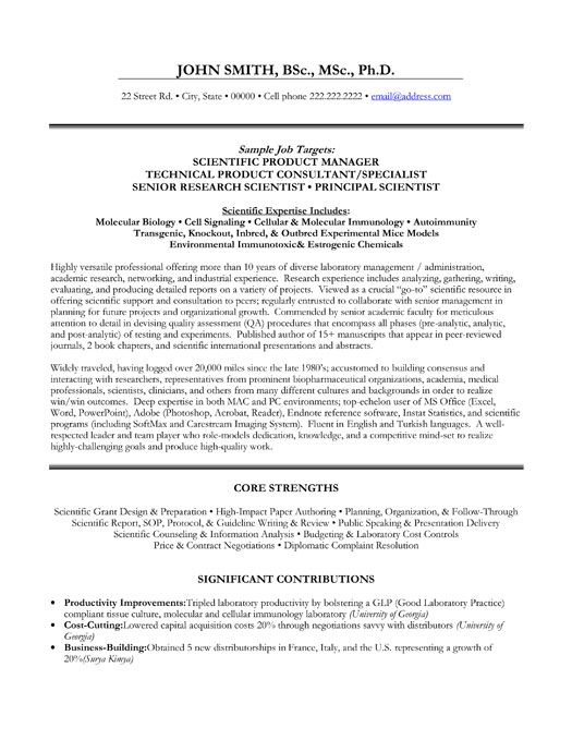 Click Here to Download this Scientific Product Manger Resume - research scientist resume sample