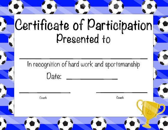Soccer Certificate Of Participation By Nanaspartyprintables