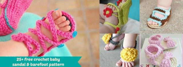 Crochet Baby Sandals - 25 Free Patterns | Baby Barefoot. Sandals ...
