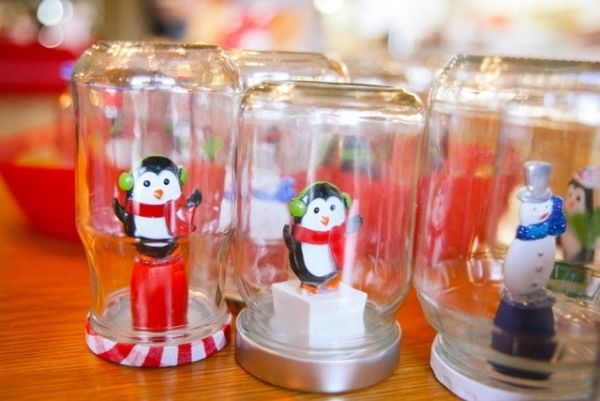 christmas crafts for kids making a snow globe with toys penguin snowman - Homemade Christmas Decorations For Kids