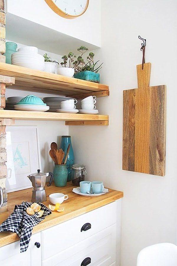 Baldas de madera cocinas pinterest madera - Baldas para cocina ...