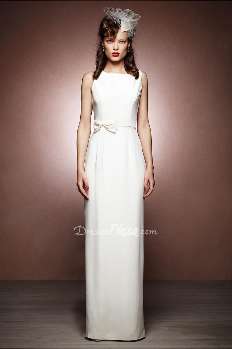 Simple retro satin sleeveless boatneck sheath long weddingdress