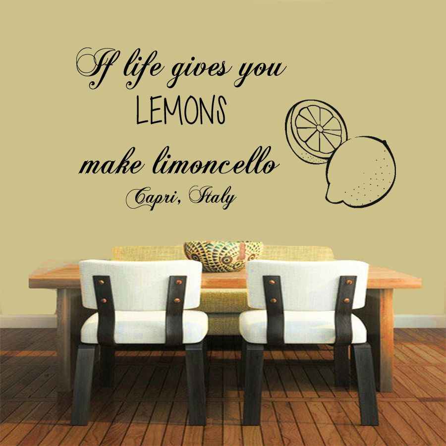 Wall Decals If Life Gives You Lemons Quote Vinyl Sticker Mural Wall ...