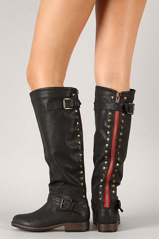 Bamboo Montage-83 Contrast Zipper Studded Riding Knee High Boot ...