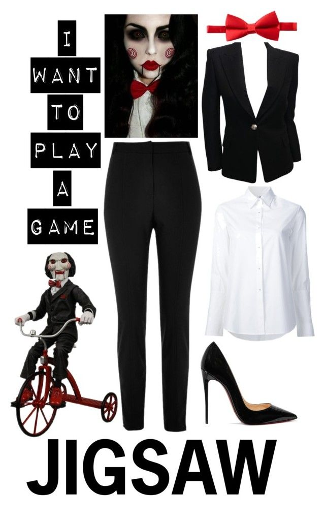 """""""JIGSAW"""" by indie-fashionista ❤ liked on Polyvore featuring River Island, Misha Nonoo, Balmain, Michelsons and Christian Louboutin"""