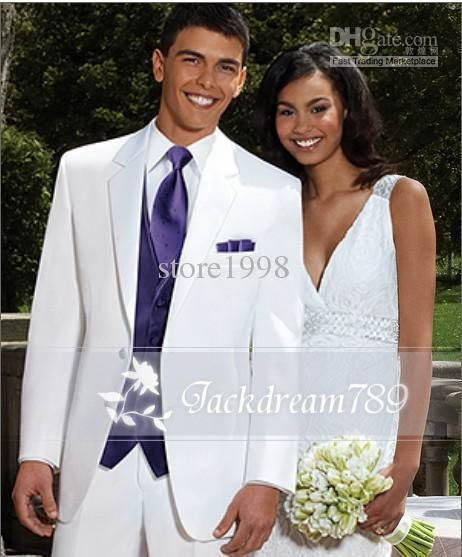 Cool Handsome White Noble Tuxedos Groom / Groomsmen Wedding Suits ...