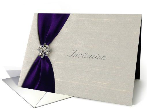 Wedding Invitations With Purple Ribbon: Wedding Invitation, Deep Purple Satin Ribbon With Jewel