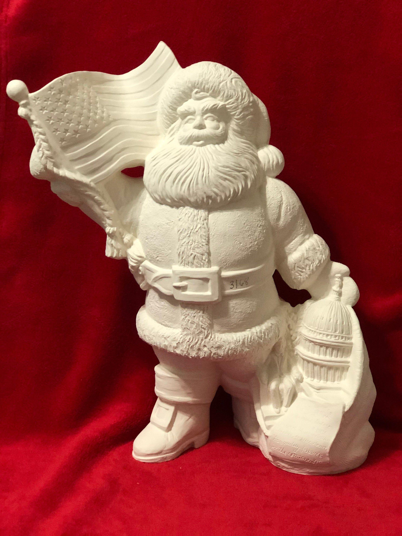 Large American Santa Claus In Ceramic Bisque Ready To Paint Etsy In 2020 Ready To Paint Ceramics Ceramic Bisque Ceramics