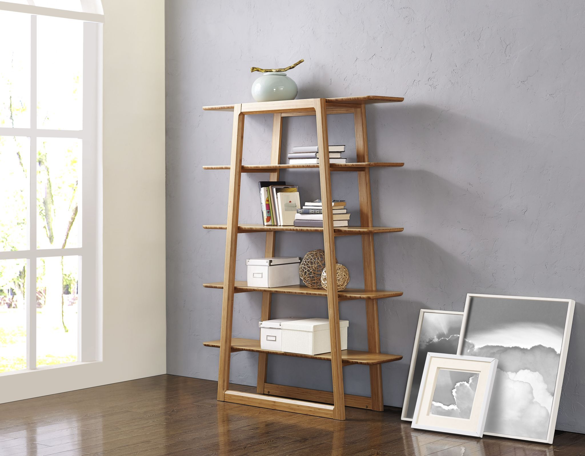 Versailles Book Shelf Crafted In Solid Bamboo, One Of Earths