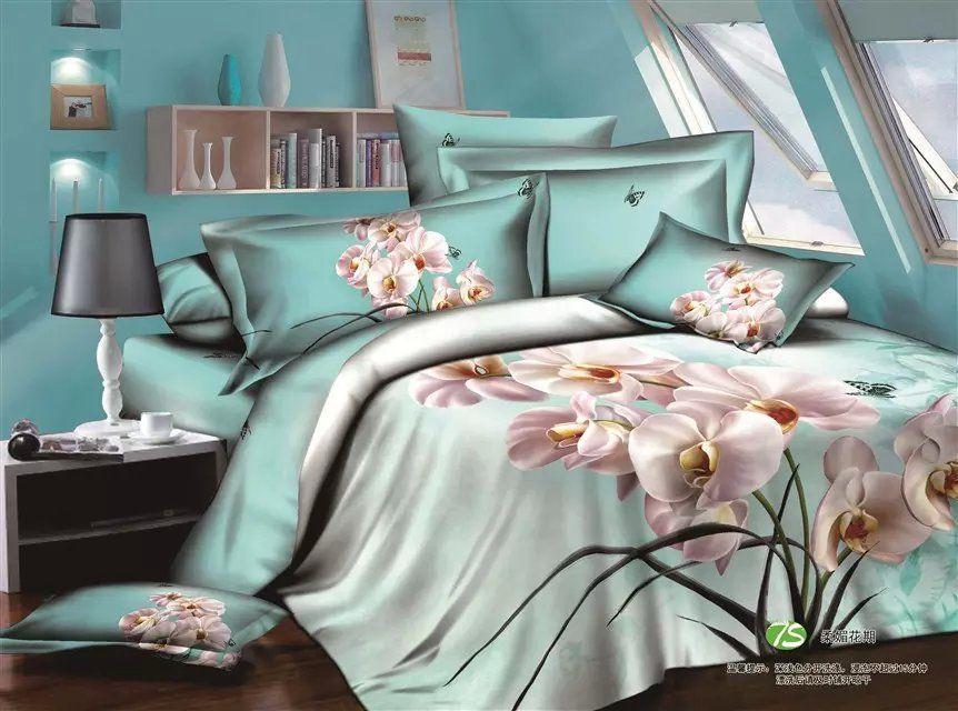 3d orchid print bedding set 100 cotton queen size 3d bedding sets 4pcs with duvet cover bed sheet 2pillow not included size queen - Queen Size Duvet Cover