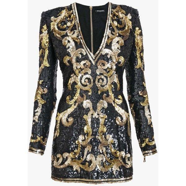 Balmain Sequins embellished mini dress (5 430 AUD) ❤ liked on Polyvore featuring dresses, sequin dresses, short sequin cocktail dresses, long sleeve short dress, long sleeve dress and short dresses