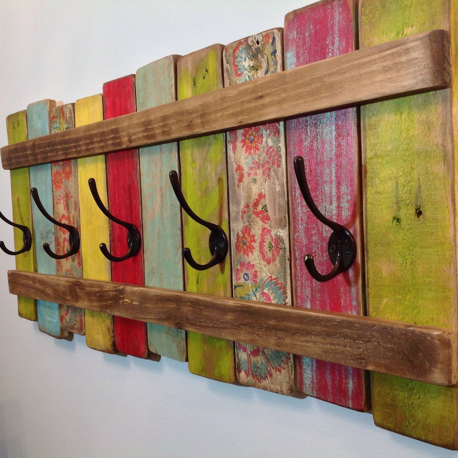 Wood Coat Rack Entryway Organizer Towel Rack Key Hooks Wall Mounted Coat Rack Catch All Leash Holder Rustic Modern Unique Add Good Vibes Pallet Crafts Wood Crafts Bohemian Furniture