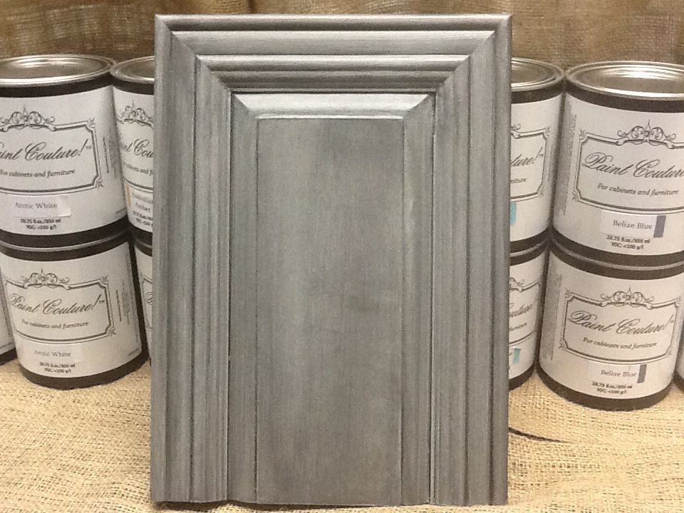 This cabinet door has Zinc Glaze Couture over top of Wonder Paint ...