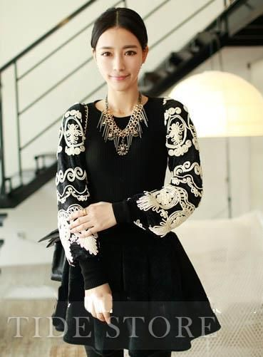 US$29.99 Glamour Deluxe Sleeve Lace Sweater. #Sweaters #Deluxe #Sweater #Glamour