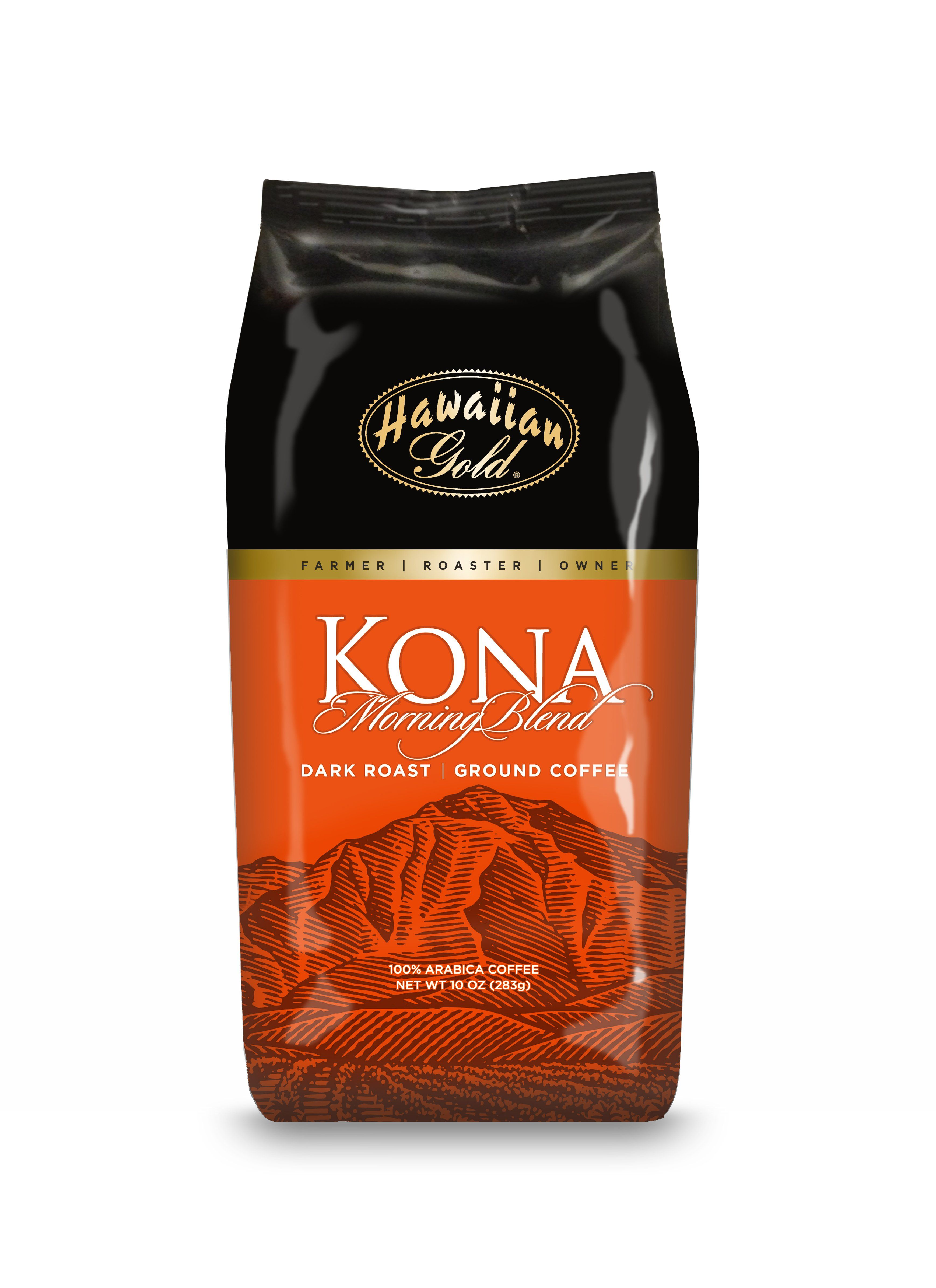 Hawaiian gold kona coffee morning blend ground coffee 10