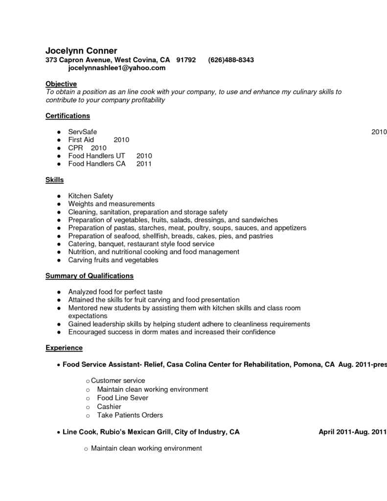 Resume Template Examples Chef Resume Template Junior Sous Free Example Cook Doc Sample