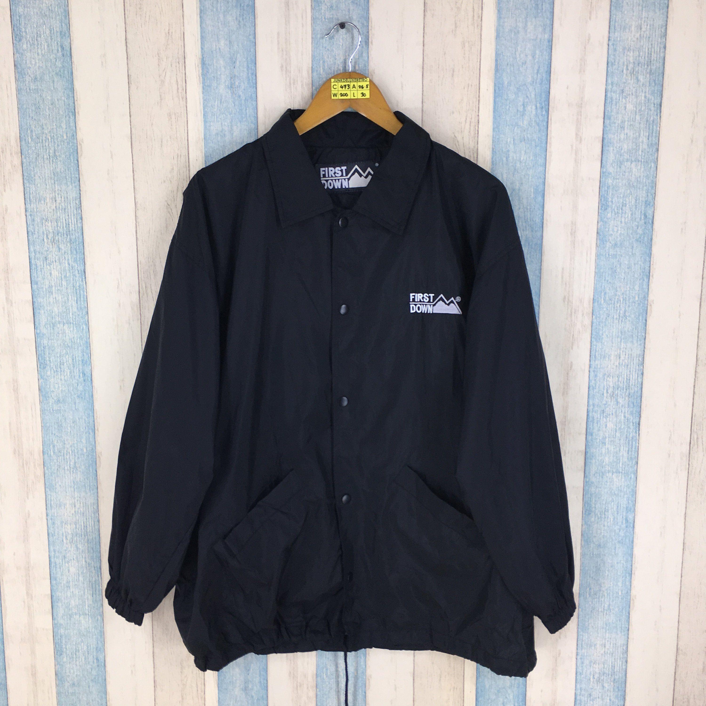 0a9dbe69bd097 FIRST DOWN Jacket Mens Xlarge Black Vintage 90's Streetwear First ...