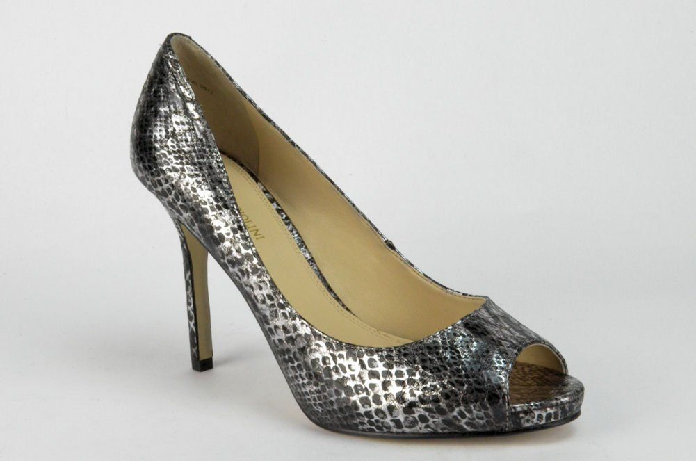Enzo Angiolini Women's Maiven Peep-Toe Pump, Silver, Size 10.0. Authentic Stock from Enzo Angiolini. Material - Synthetic. Color - Pewter. Heel Height - High (3 in. and Up). Style - OpenToe.