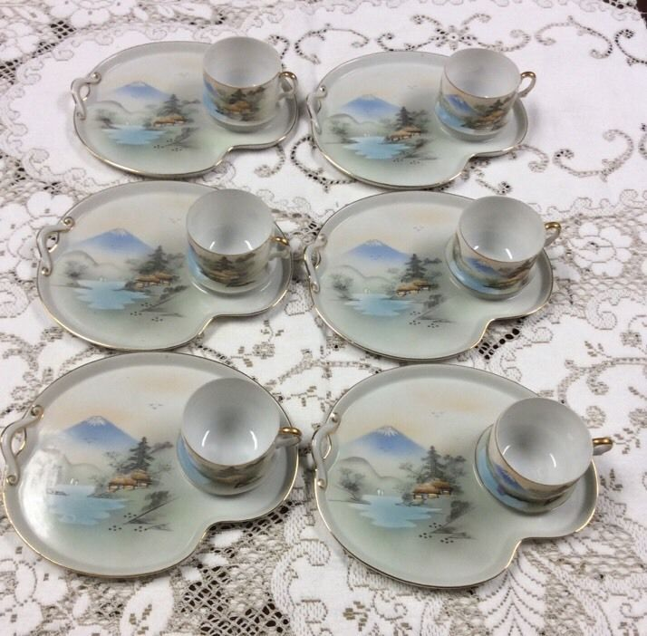 6 kutani hand painted japan snack set cup and plate. Black Bedroom Furniture Sets. Home Design Ideas