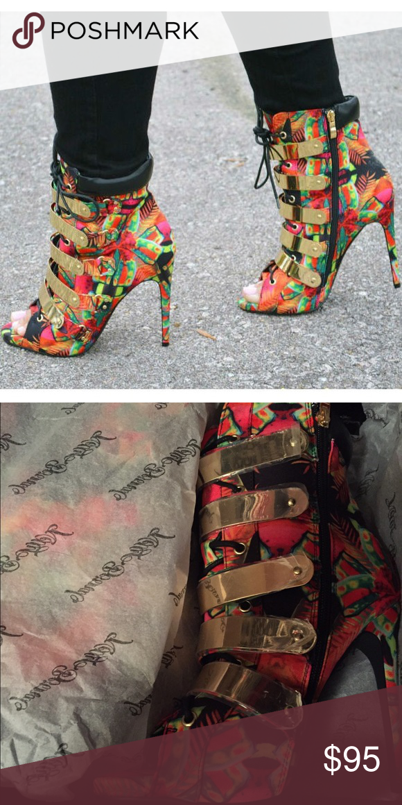 Multi open toe booties This multi colored open toe bootie is definitely a must have for your shoe collection! ❤ brand new in box. nelly bernel Shoes Ankle Boots & Booties