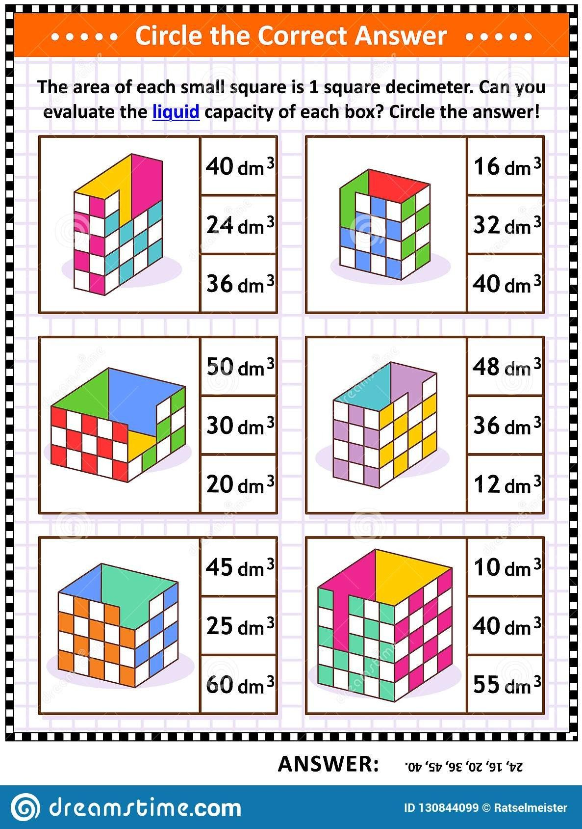 Capacity Worksheets For Kindergarten Math Skills Training