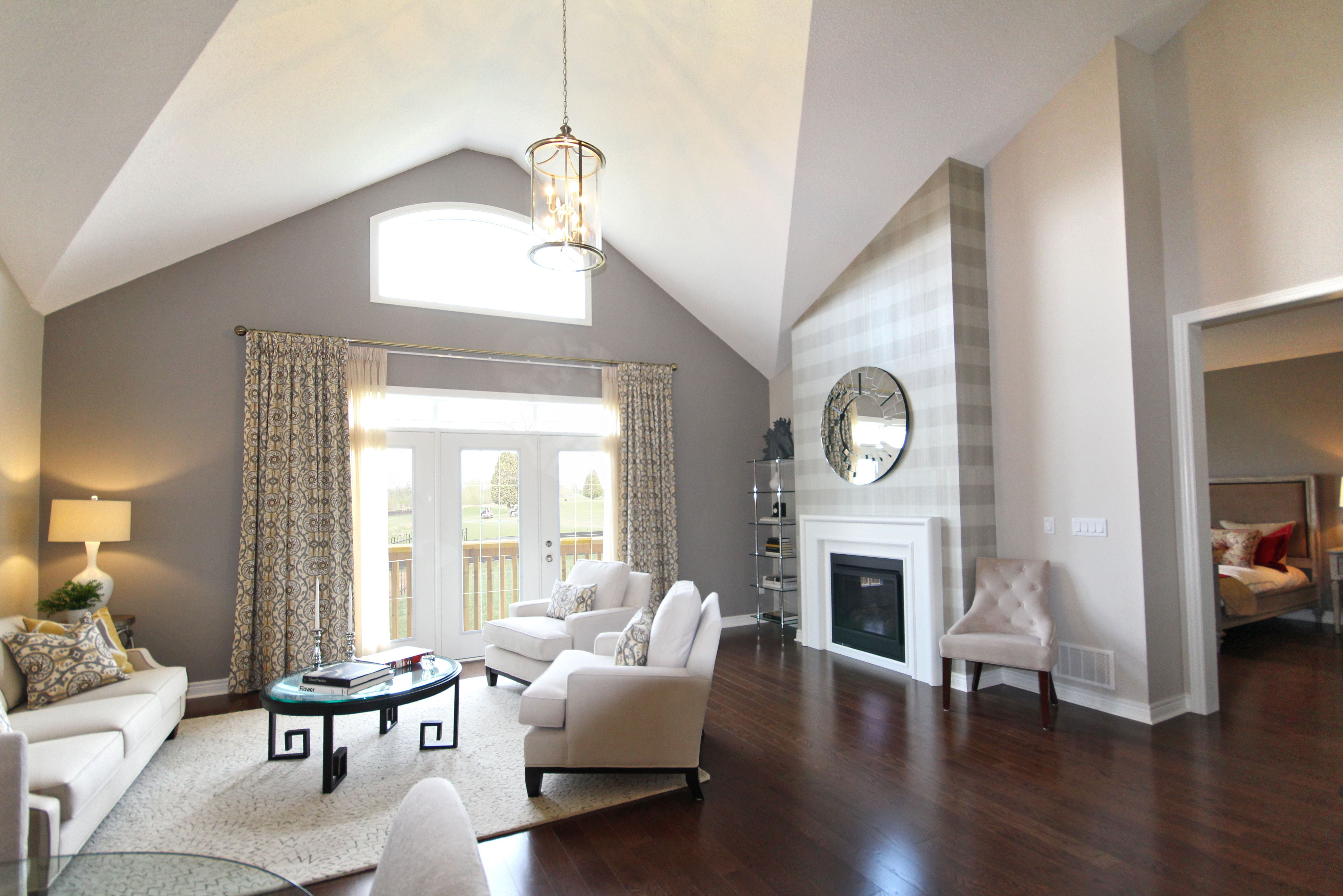 Natural light floods the great room in the Quaker model home at Fox ...