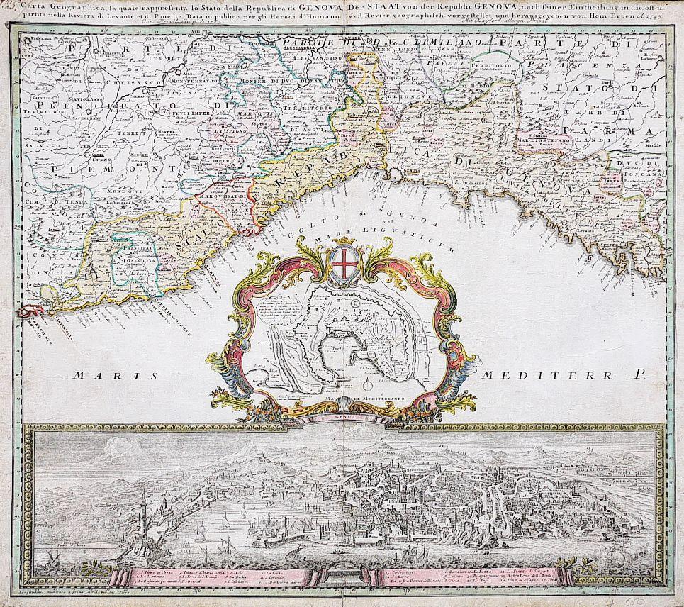 Genoa Genua Carta Geographica Genova Antique Maps Genoa Map