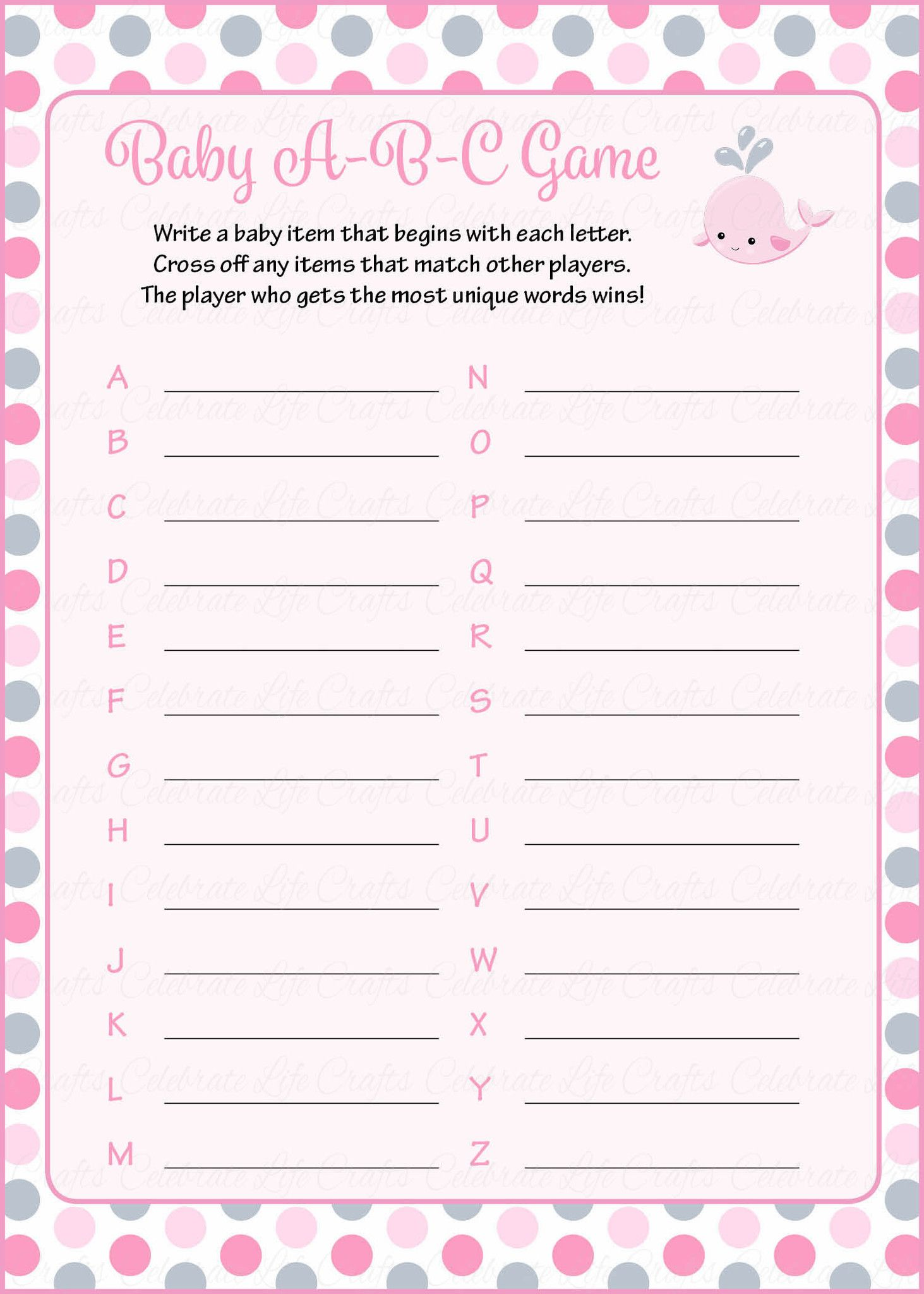 Baby Abc Game  Printable Download  Pink Gray Whale