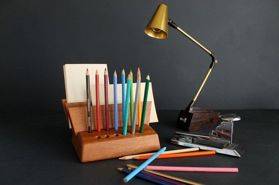 Vintage Wood Mid Century Desk Caddy Pen Pencil and by Circa810