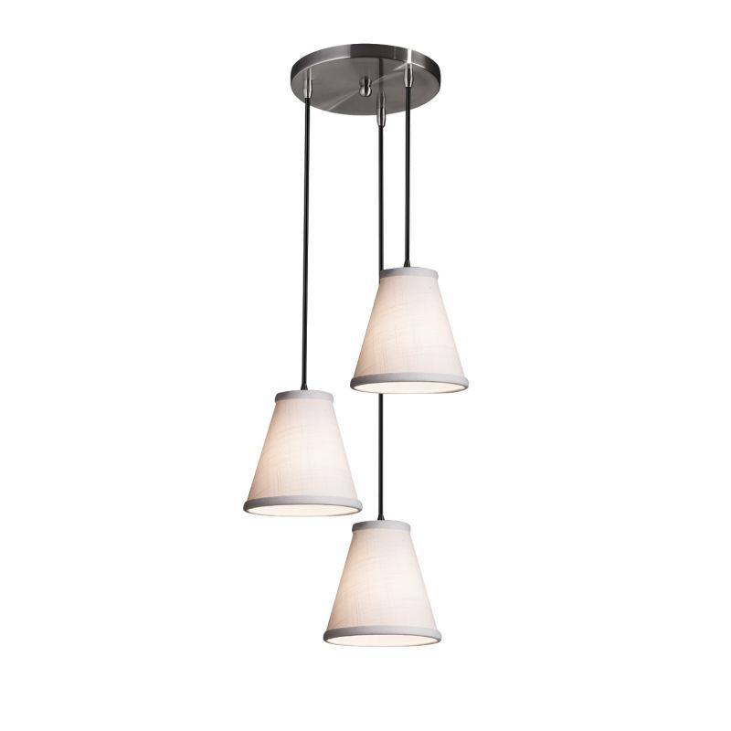 "Justice Design Group FAB-8818-50-WHTE-BKCD Textile 4"" Wide 3 Light Abstract Mult Matte Black Indoor Lighting Pendants"