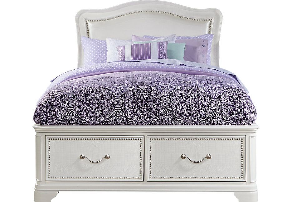 Sofia Vergara Kayla White 4 Pc Full Storage Bed Storage beds Full