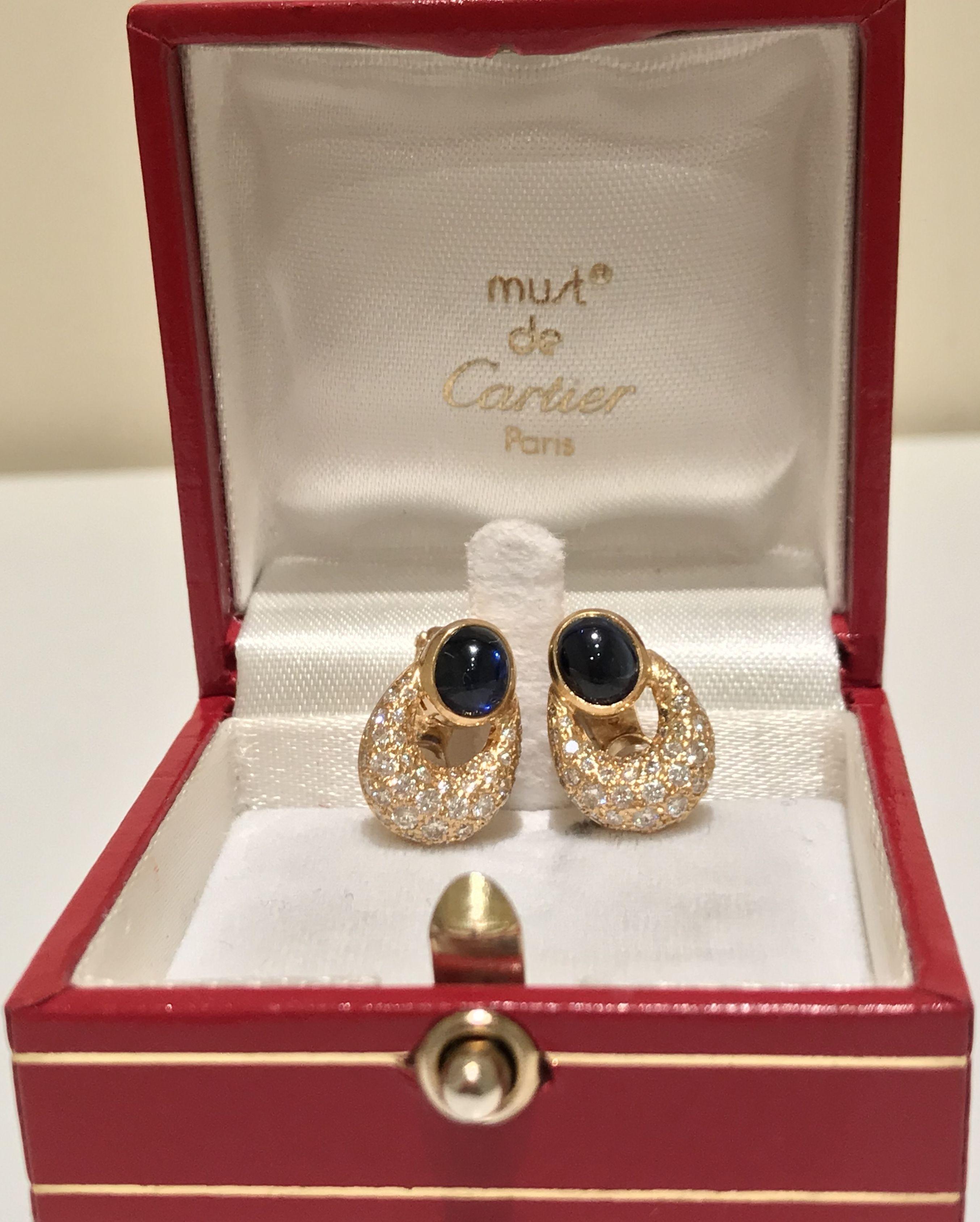 Cartier Sapphire & Diamond Earrings £3800 Luxyvint