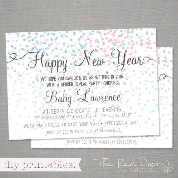 happy new year gender reveal party by thereddoorcreations on etsy