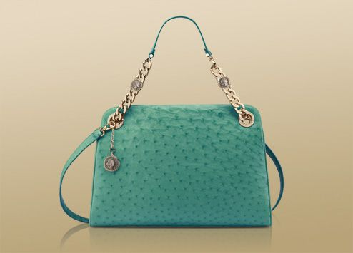 Bon-ton bag in jade green soft semi shiny ostrich with light gold plated hardware.