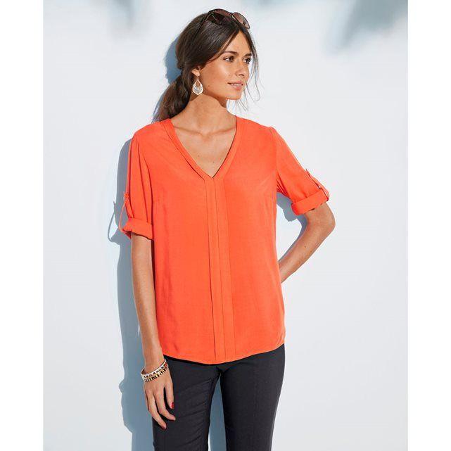 7343d302ff1 Collection Anne Weyburn printemps été 2017- Blouse col V en toile fluide de  couleur orange