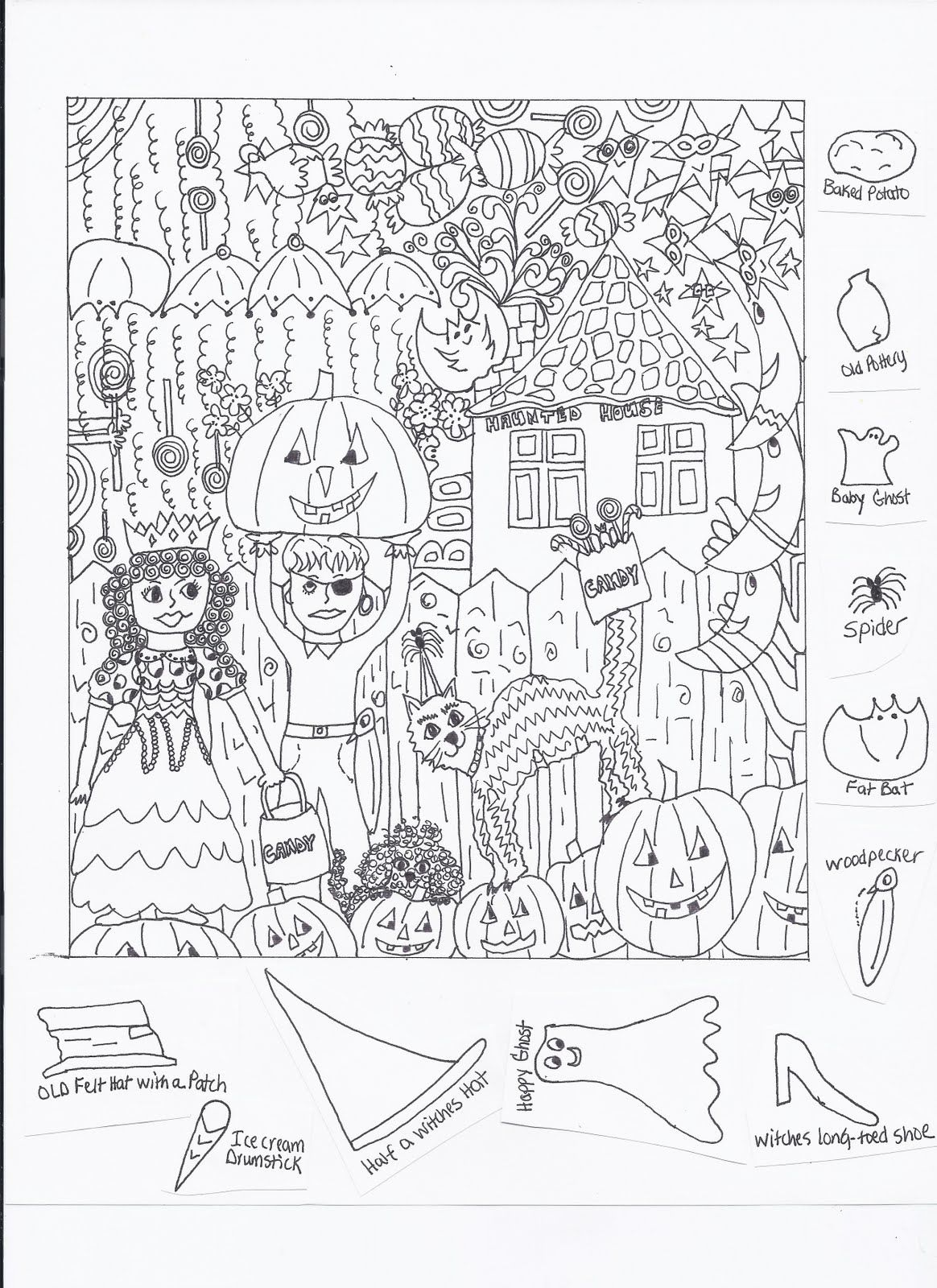 Cat Hidden Puzzle Coloring Pages