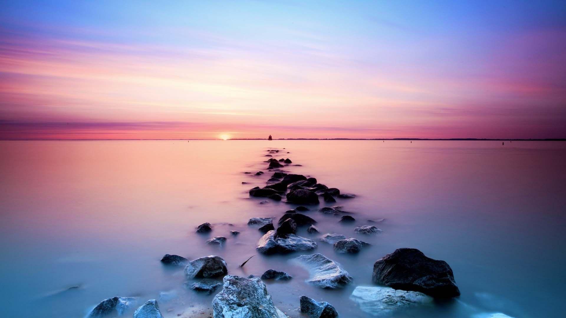Pastel Wallpaper Sea Stones Hipster Wallpaper Landscape Wallpaper Sunset Wallpaper