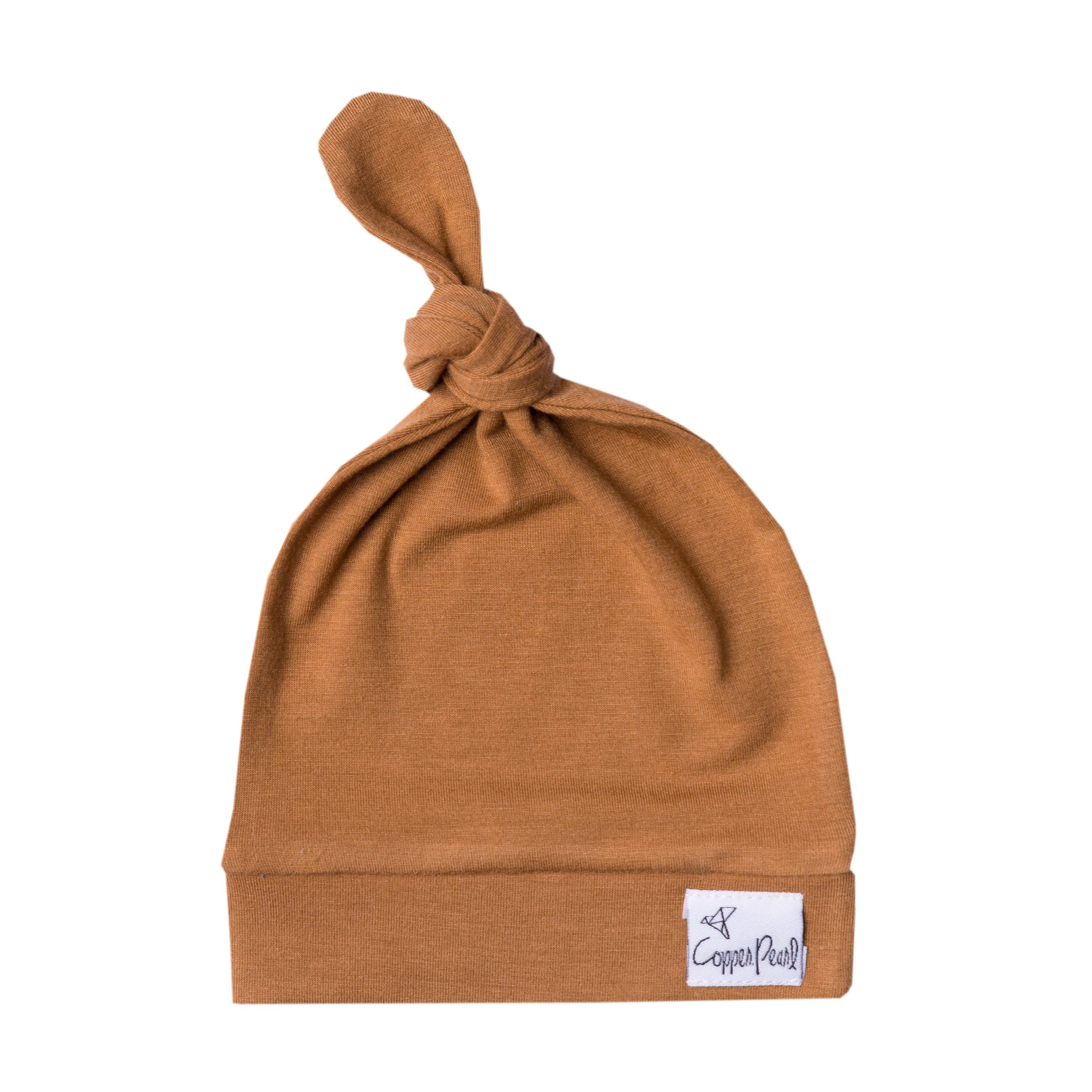 Copper Pearl Baby Beanie Hat Top Knot Stretchy Soft Alder