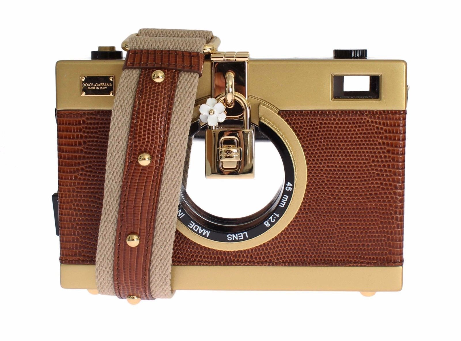 845fc5dc8d Absolutely Stunning Dolce & Gabbana Camera Case Brown Leather Gold ...