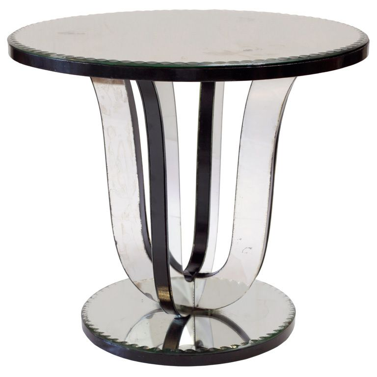 French Art Deco Mirrored Side Table