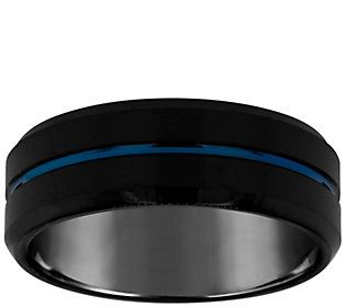 Men S Grooved 8mm Black Blue Plated Tungstenwedding Band Qvc Com In 2020 Mens Wedding Bands Black Tungsten Wedding Bands Black Wedding Band