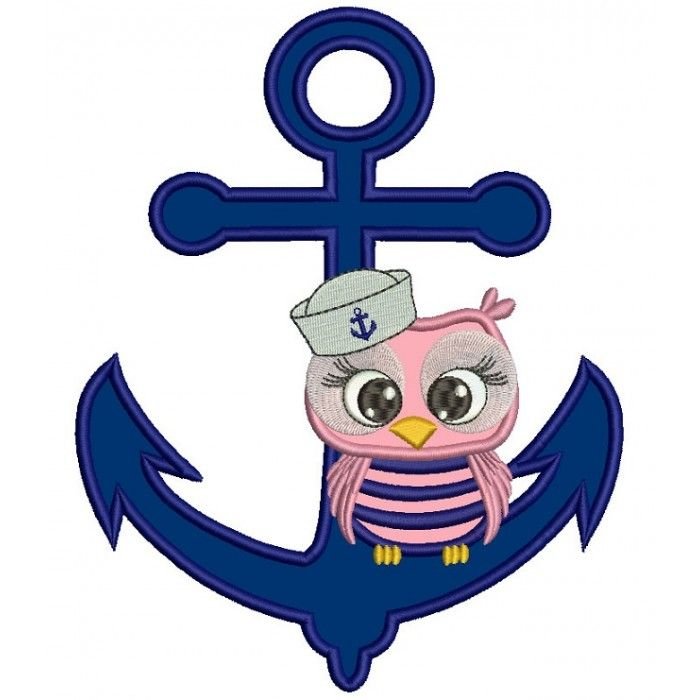 Sailor Owl Sitting on a Boat Anchor Applique Machine