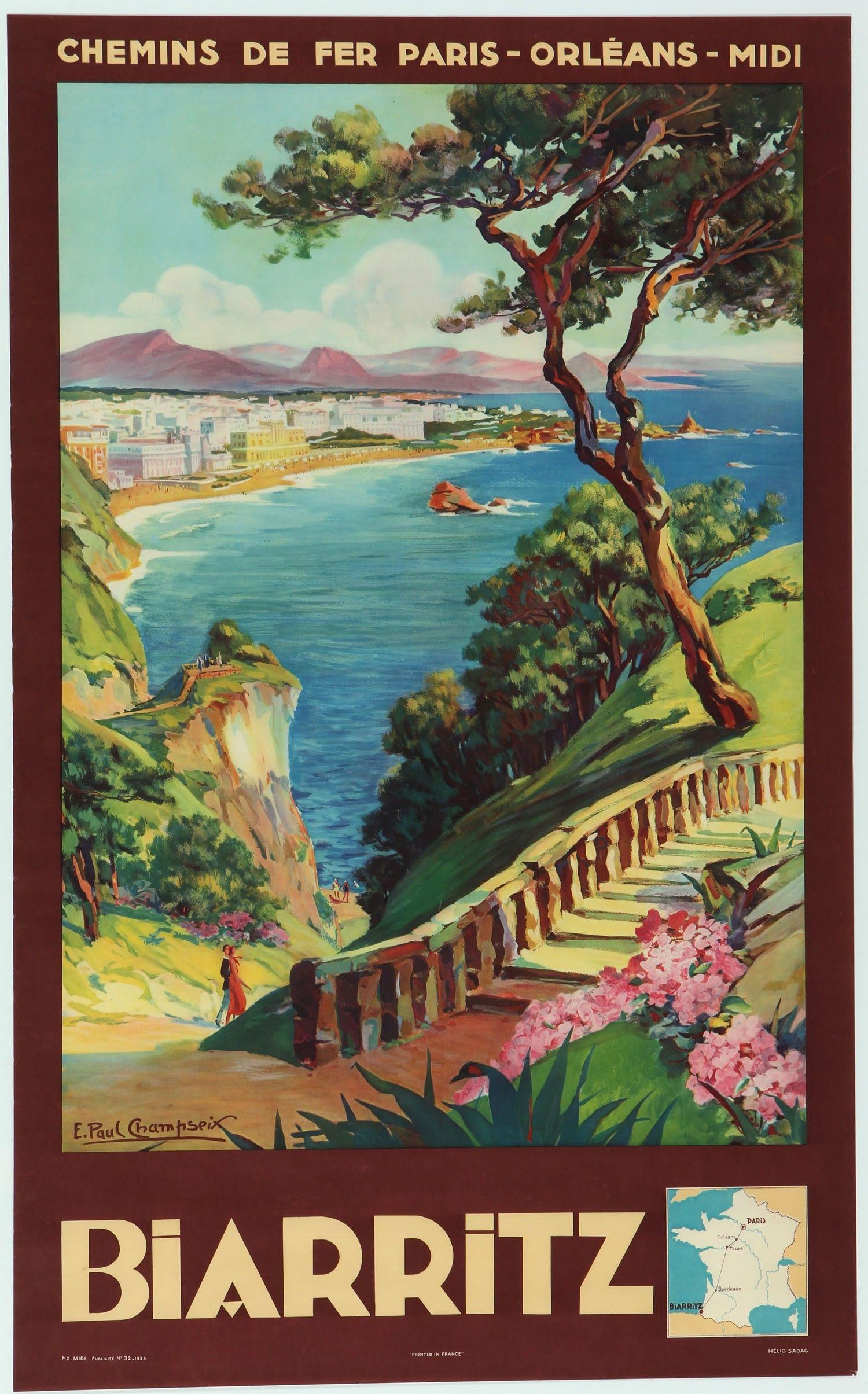 Original Vintage Poster Biarritz Pays Basque E Paul Champseix Retro Travel Poster Vintage Travel Posters Travel Posters