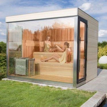 optirelax vip gartensauna deluxe sauna im garten mini sauna f r den garten sauna mit glaswand. Black Bedroom Furniture Sets. Home Design Ideas