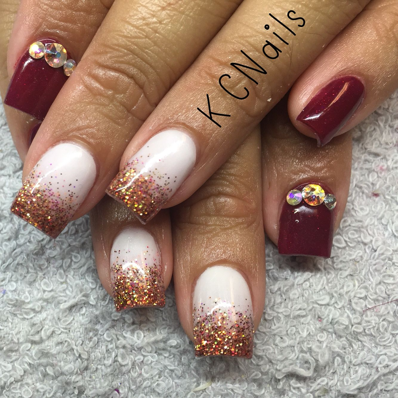 Maroon/burgundy and white acrylic nails with fall glitter fade Fall ...