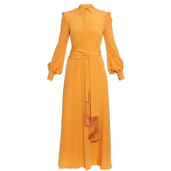 Hillier Bartley Tassel-tie silk-crepe dress (€920) ❤ liked on Polyvore featuring dresses, orange, tassle dress, orange dress, maxi length dresses, tie waist maxi dress and maxi dresses