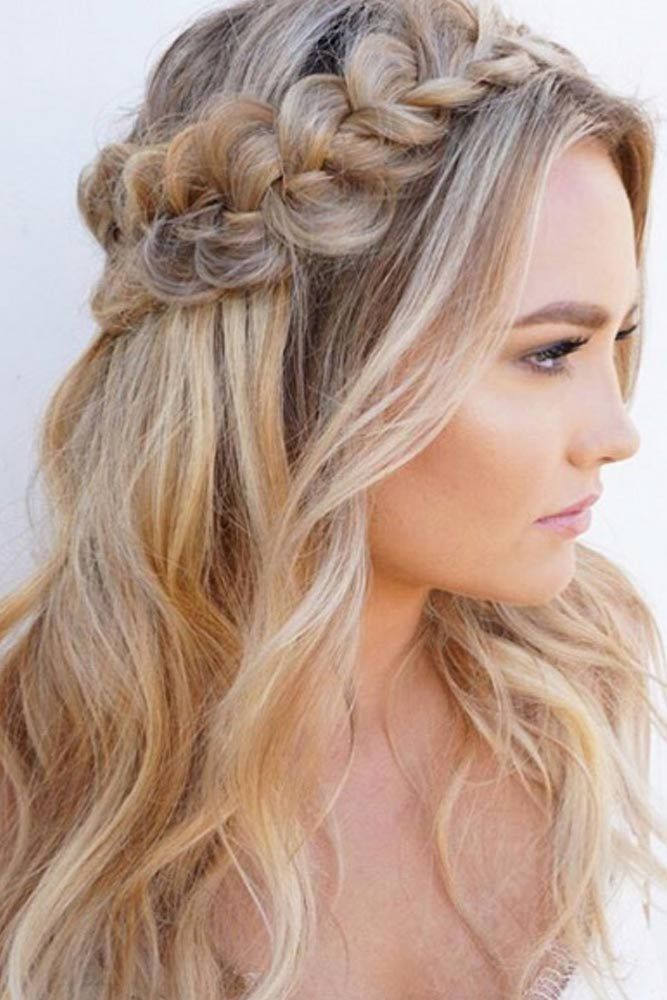 60+ Crown Braid Styling Ideas   Down hairstyles for long ...
